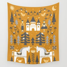 Yellow + Gray Fairy Tale Wall Tapestry