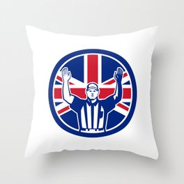 British American Football Referee Union Jack Flag Icon Throw Pillow