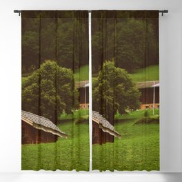 Switzerland Photography - Small Farm In The Hill Blackout Curtain