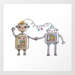 Cute robots in love II Art Print