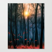 dance Canvas Prints featuring Red feather dance  (colour option) by Viviana Gonzalez