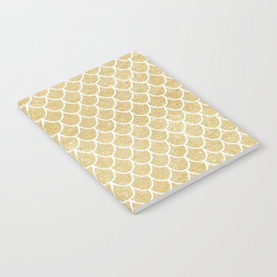 Mermaid Tail Pattern  |  Gold Glitter Notebook