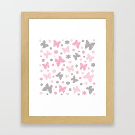 Pink and Grey Butterflies and Flowers Framed Art Print