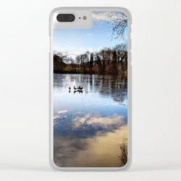 The Sky and Trees Reflection on the Frozen Duck Pond Clear iPhone Case