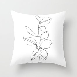 One line minimal plant leaves drawing - Birdie Throw Pillow