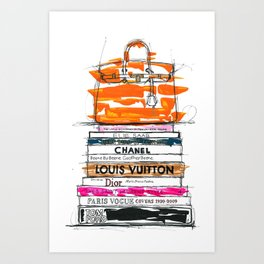 Birkin Bag and Fashion Books Art Print