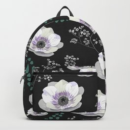 Anemones collection black pattern Backpack