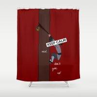 mulan Shower Curtains featuring Keep Calm: Mulan by NomadicArt