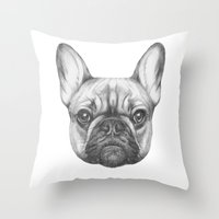 frenchie Throw Pillows featuring Frenchie by Victoria Novak