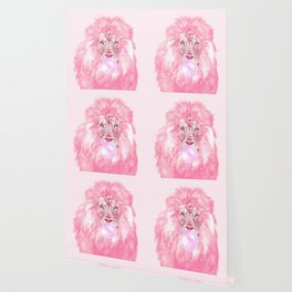 Lion Chewing Bubble Gum in Pink Wallpaper