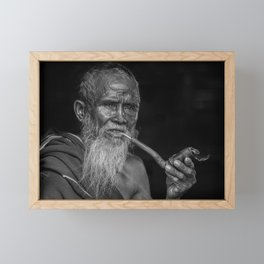 Portrait of an Elderly Man Smoking Pipe Framed Mini Art Print