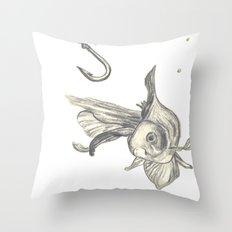 fishing in the fish tank Throw Pillow