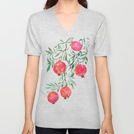 red pomegranate watercolor Unisex V-Neck