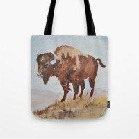 buffalo Tote Bags featuring Buffalo by TheWildPlum