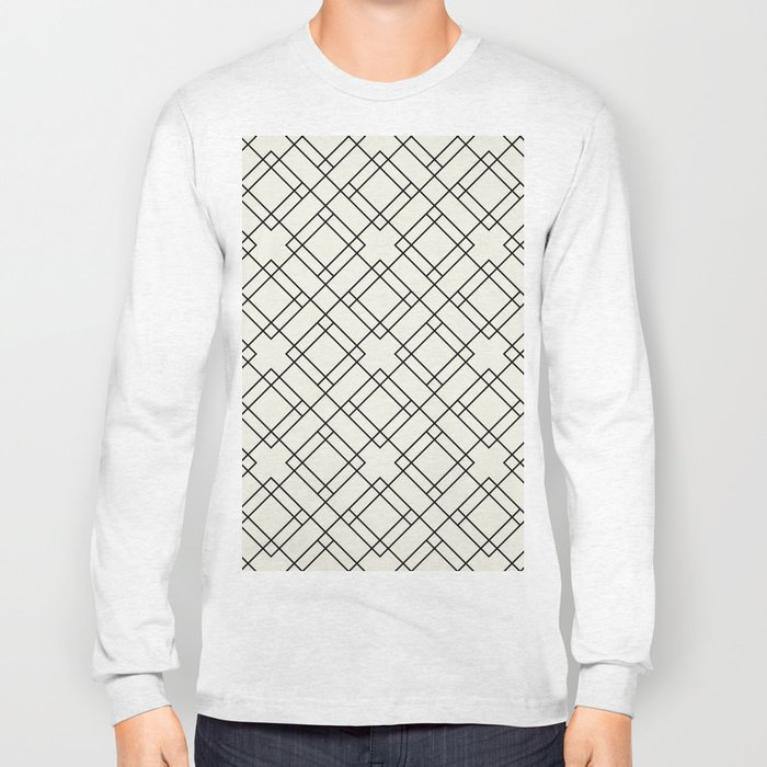 Simply Mod Diamond Black and Cream Long Sleeve T-shirt
