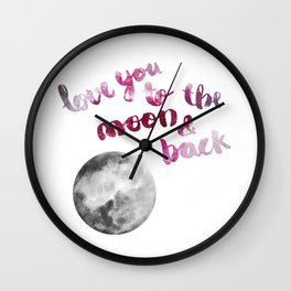 """SCARLET ROSE """"LOVE YOU TO THE MOON AND BACK"""" QUOTE + MOON Wall Clock"""
