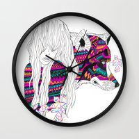 wolf Wall Clocks featuring ▲SHE-WOLF▲ by Kris Tate