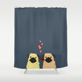 Valentines Pugs Shower Curtain