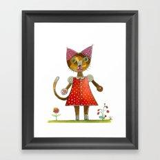 Strawberry Kitty Cat Framed Art Print