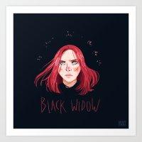 black widow Art Prints featuring Black Widow by Galaxyspeaking