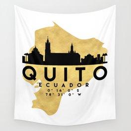 QUITO ECUADOR SILHOUETTE SKYLINE MAP ART Wall Tapestry