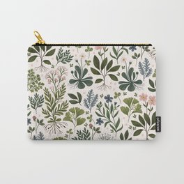 Herbarium ~ vintage inspired botanical art print ~ white Carry-All Pouch