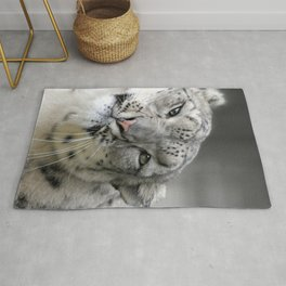 Leaning Snow Leopard Rug