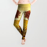 agnes Leggings featuring lone tree & sunflowers field by Viviana Gonzalez
