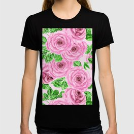 Pink watercolor roses with leaves and buds pattern T-shirt