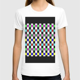 Retro 3 - Abstract, multicoloured, bold, chekkered, checkered pattern T-shirt