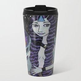 Girl Building a Fire Metal Travel Mug