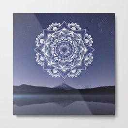 Nightsky Mandala - White on Purple  Metal Print