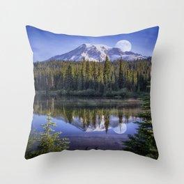 Moon Rise Over Mt. Rainier Throw Pillow