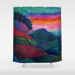 'Farmer on his Way Home at Sunrise' mountain landscape by Marianne von Werefkin Shower Curtain