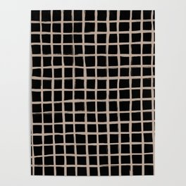 Strokes Grid - Nude on Black Poster