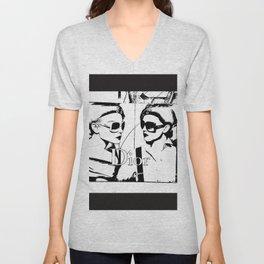 Sketched Fashion19 White on Black Unisex V-Neck