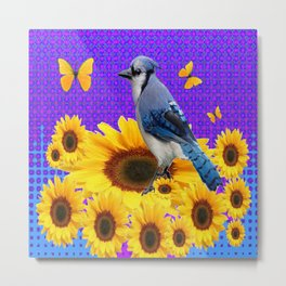 BLUE JAY YELLOW BUTTERFLIES SUNFLOWER ART Metal Print