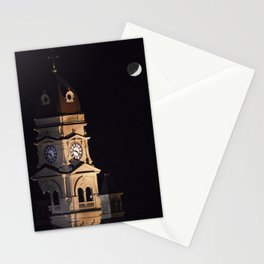 Crescent moon and earth shine at city hall clock tower Stationery Cards