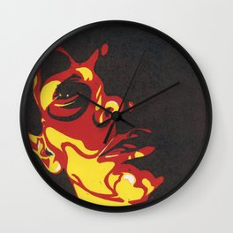 Original Woodcut Resting Bitch Face Self Portrait Wall Clock