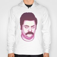 ron swanson Hoodies featuring Ron Swanson by Kristjan Lyngmo