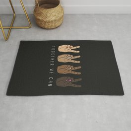 Together We Can - Peace Sign Print in Different Skin Colors Rug