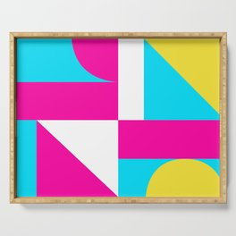 Mondrian style geometrical citric colors high resolution fine art for home decor. Serving Tray