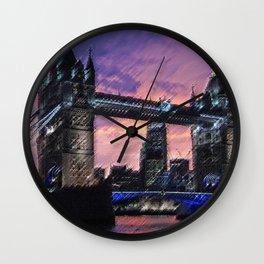 Tower Bridge, London at Sunset Landscape Painting by Jeanpaul Ferro Wall Clock