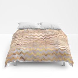Elegant chic faux gold chevron marble pattern Comforters