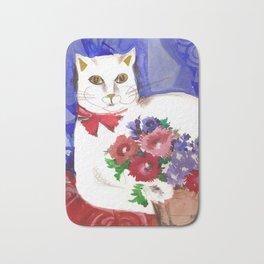 Cozy Cat and Flower Basket Bath Mat