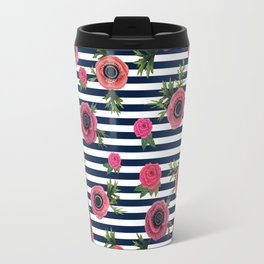Watercolor Flowers with Nautical Stripes Travel Mug
