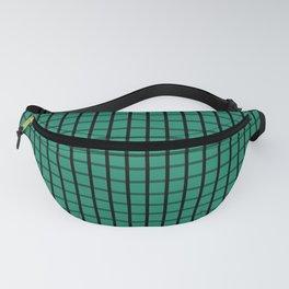 Small Elf Green on Black Grid Pattern   Fanny Pack