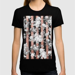 Vintage style black white floral rose gold geometric pattern T-shirt