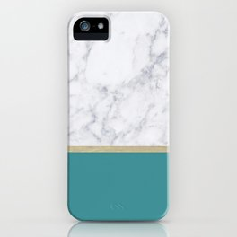 Teal Marble Gold iPhone Case
