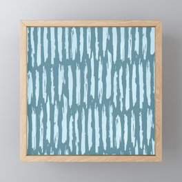 Vertical Dash Turquoise on Teal Blue Framed Mini Art Print